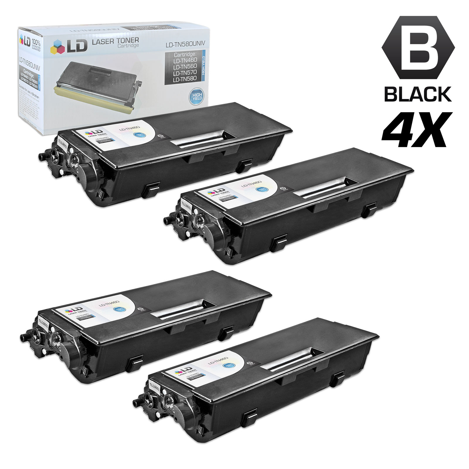 LD © Compatible Replacements for Brother TN460 Pack of 4 High Yield Black  Toner Cartridges for DCP-1200, DCP-1400, FAX 8350p, HL-1030, HL-1240,
