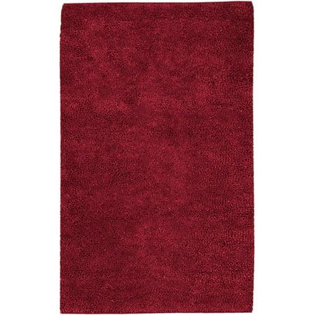 8' x 10.5' Solid Crimson Red Hand Woven New Zealand Wool Shag Area Throw Rug