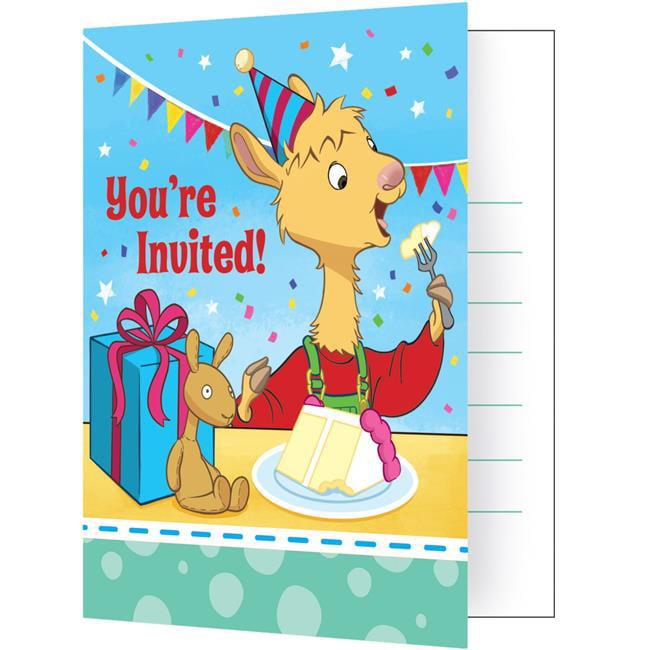 Creative Converting 338729 Llama Invitations, 8 Count