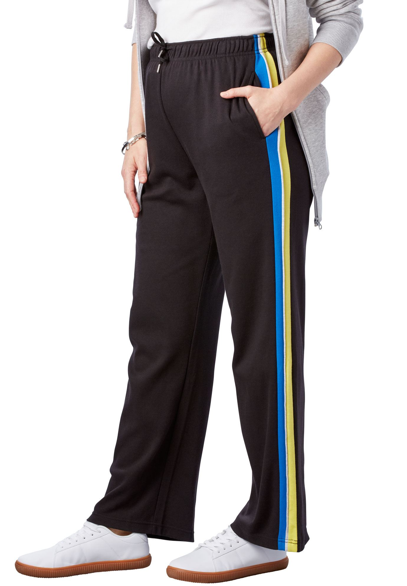 Plus Size Sport Knit Side-stripe Pant