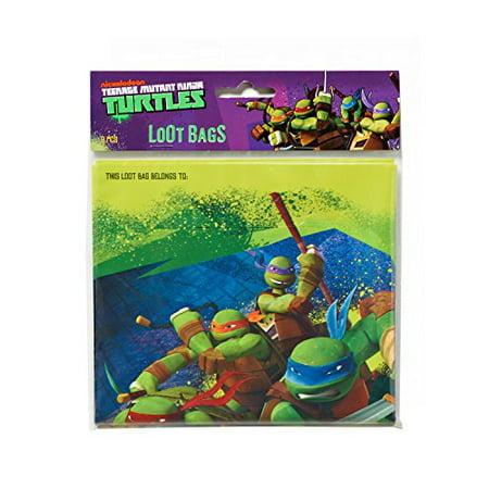 "American Greetings Totally Tubular Teenage Mutant Ninja Turtles Party Folded Loot Bag Favours, Plastic, 9"" x 6"", Pack of 8 - image 1 of 2"