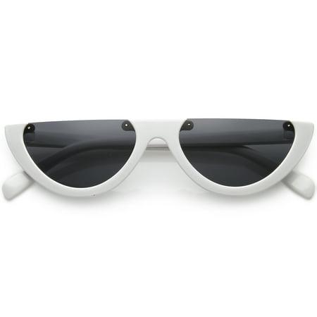 f992aea2d8 sunglassLA - Extreme Semi Rimless Cat Eye Sunglasses Neutral Colored Lens  55mm - 55mm - Walmart.com