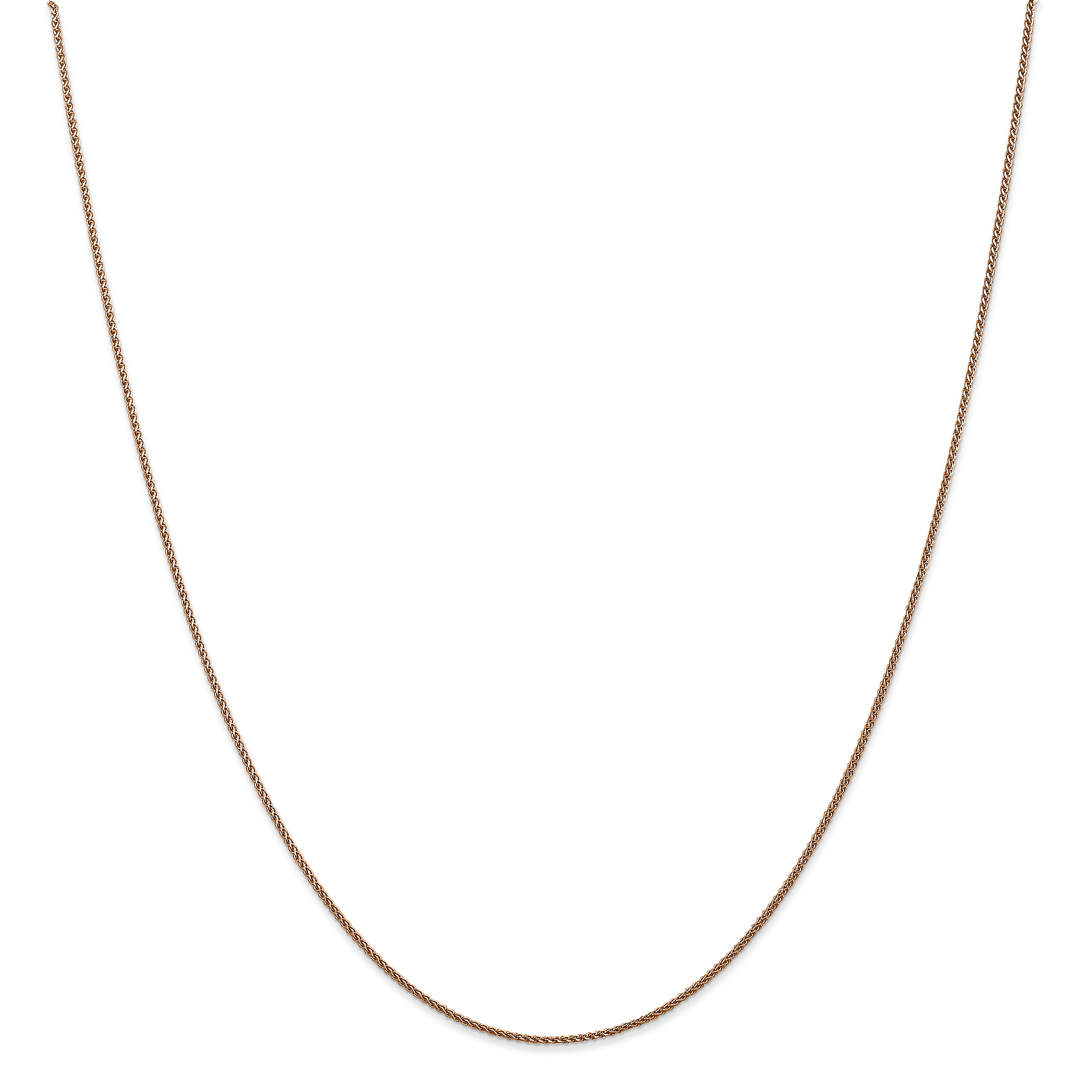 14k Rose Gold 1mm Spiga Link Wheat Chain Necklace 20 Inch Pendant Charm Spiga/wheat Fine Jewelry Gifts For Women For Her - image 5 de 5