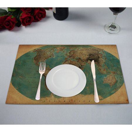 GCKG Vintage Style World Map Pattern Table Placemat 12x18 Inch Set of 2 World Linen Pattern