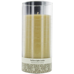 Mysteria Scented One 7.5 Inch Glass Pillar Scented Candle.  Combines Patchouli, Cedarwood, Ylang-Ylang, Rose, Lavender &
