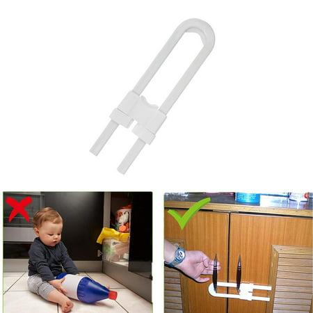 (2 Pack) Child Safety Sliding Cabinet Locks, EEEKit Baby Safety Cabinet  Latch Locks for Kitchen Bathroom Storage Doors U Shaped