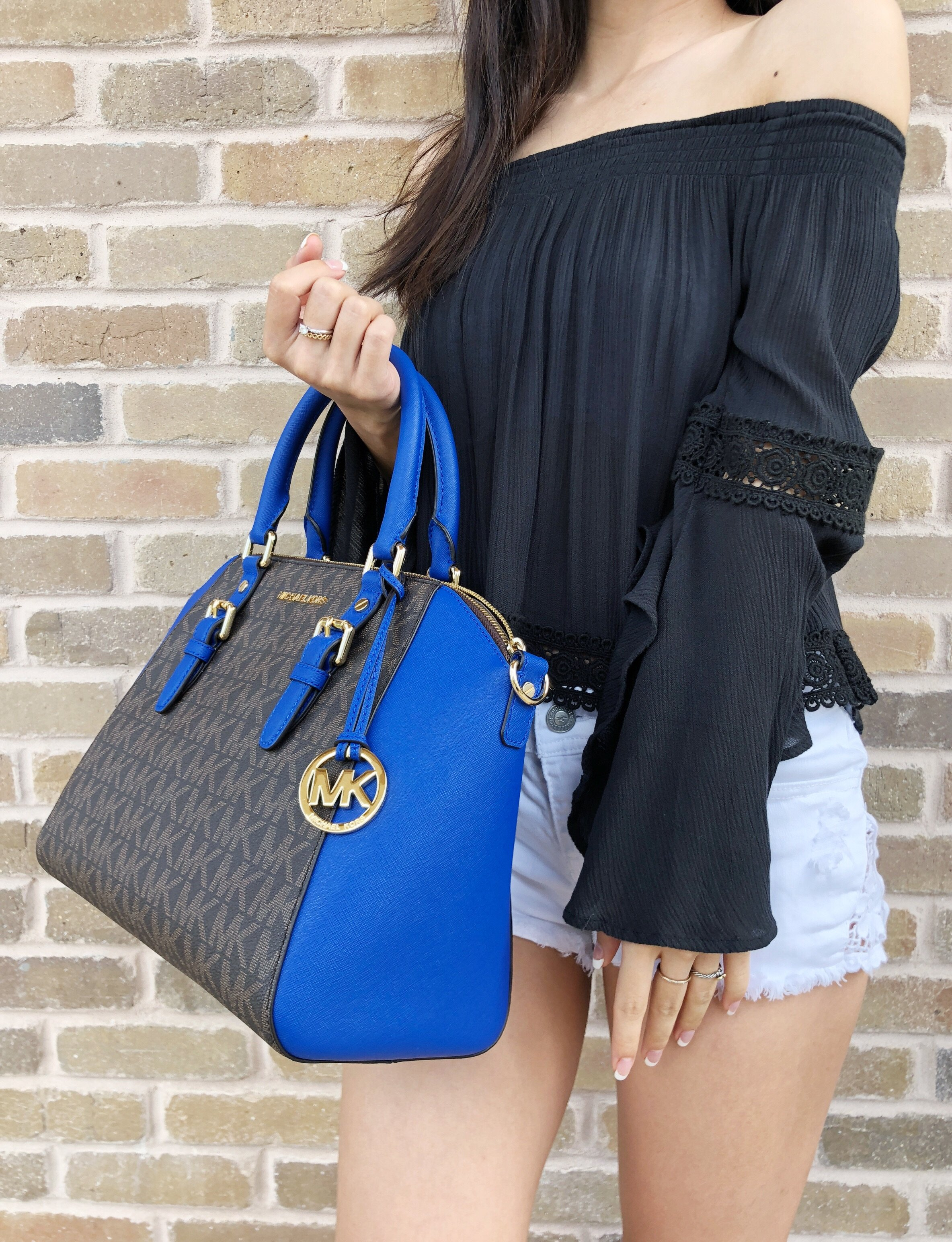 1b4bb3222ad7 Michael Kors - Michael Kors Ciara Large Zip Satchel Crossbody Brown MK  Electric Blue - Walmart.com