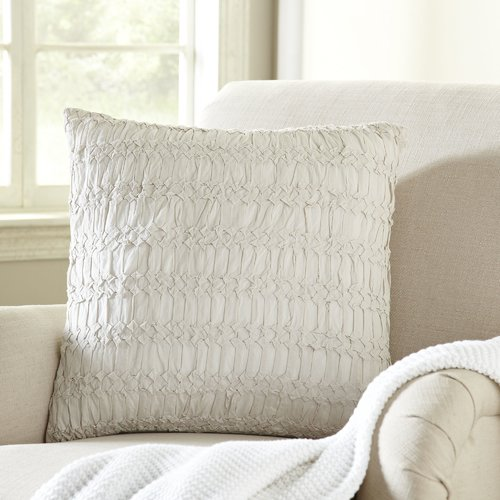 "Rizzy Home Decorative Poly Filled Throw Pillow Technique Textured 20""X20"" White"