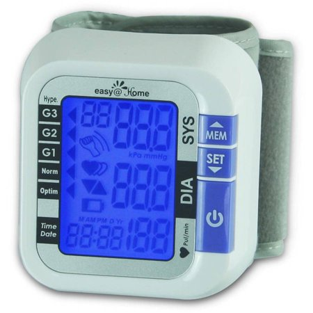 Easy Home Digital Wrist Blood Pressure Monitor With Heart Beat Pulse Meter Function