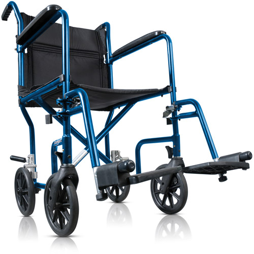 Hugo Portable Lightweight Transport Wheelchair with Detachable Footrests, Midnight Blue
