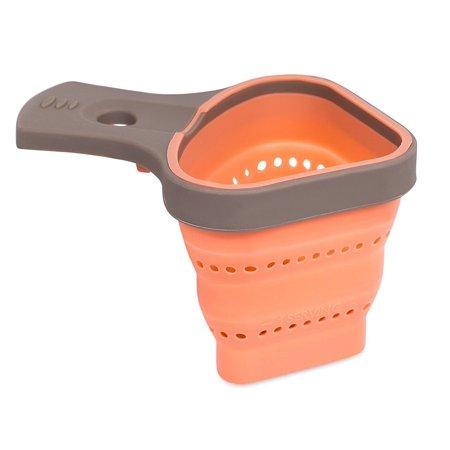 Internet's Best Handheld Collapsible Mini Strainer | Small Silicone Skimmer Colander | Peach &
