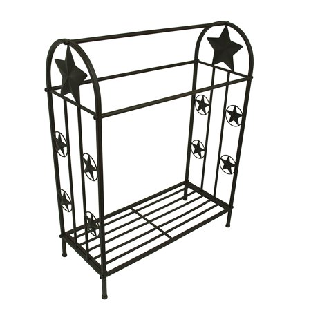 36 Inch Tall Western Stars Rustic Brown Metal Quilt Rack (Quilt Stand)