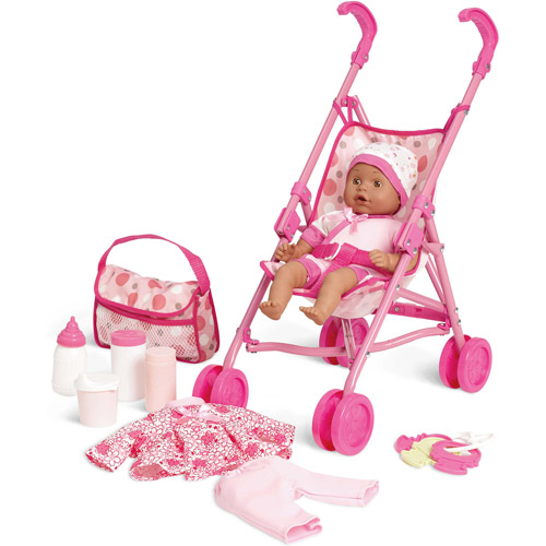 Kid connection 13 quot baby doll stroller play set african american