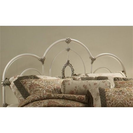 Bowery Hill Full Queen Metal Headboard in Antique White ()