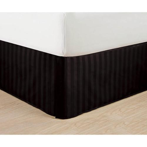 Elegant Comfort Wrinkle-Free & Fade-Resistant Dobby Stripe 14-inch Drop Bed Skirt Full, Black