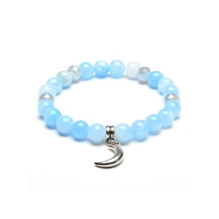 ELYA Moon Charm Light Blue Jade Stone Beaded Bracelet](Blue Bead Bracelet)