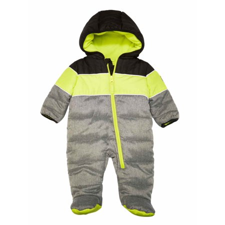 Weatherproof Infant Boys Quilted Gray Snowsuit Bunting Pram Snow - Bunting Outerwear
