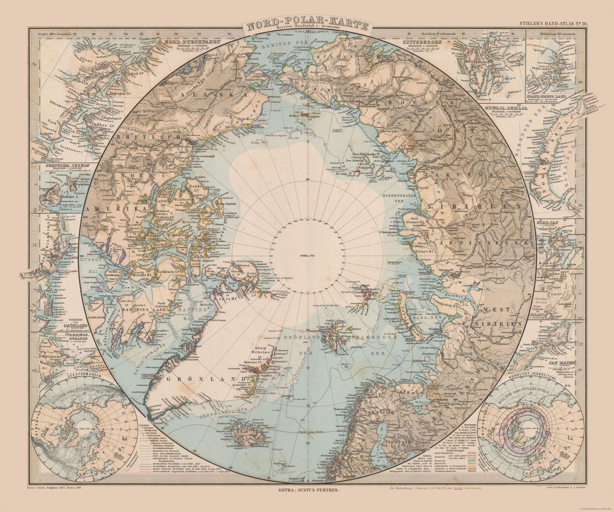 Old World Map North Pole Stielers 1885 27 57 X 23 Walmart Com