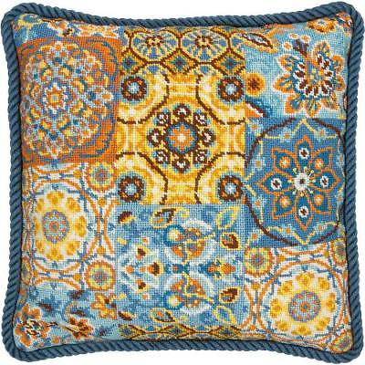 (Needlepoint Kit -Patterns On Blue)