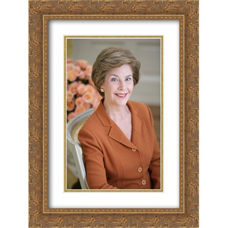 LB [i.e. Laura Bush] official portrait The yellow oval, residence. 18x24 Double Matted Gold Ornate Framed Art
