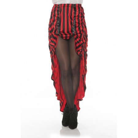Steampunk Costume Skirt Red N' Black Stripes Pirate Hi-Low Adult Women's XS-XL - image 1 de 1