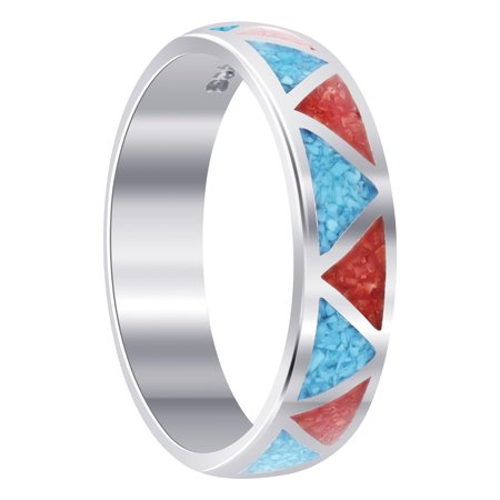 Unisex 925 Sterling Silver Turquoise with Coral Gemstone Southwestern Style Band (Sterling Silver Turquoise Gemstone)