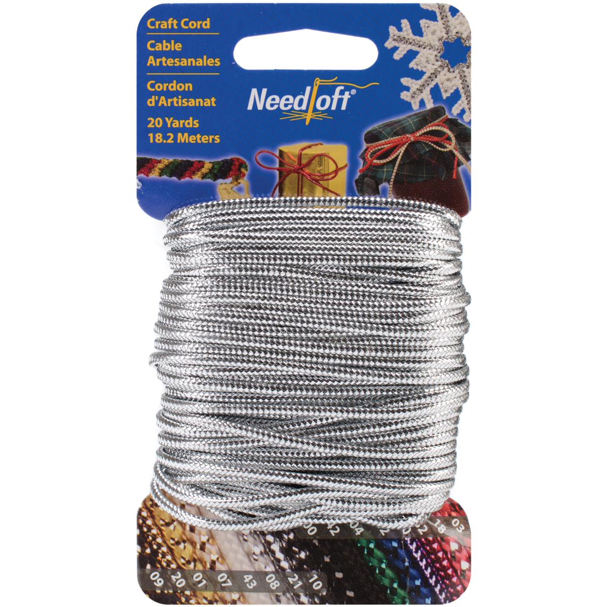 Cottage Mills Novelty Craft Cord 20yd-Solid Silver