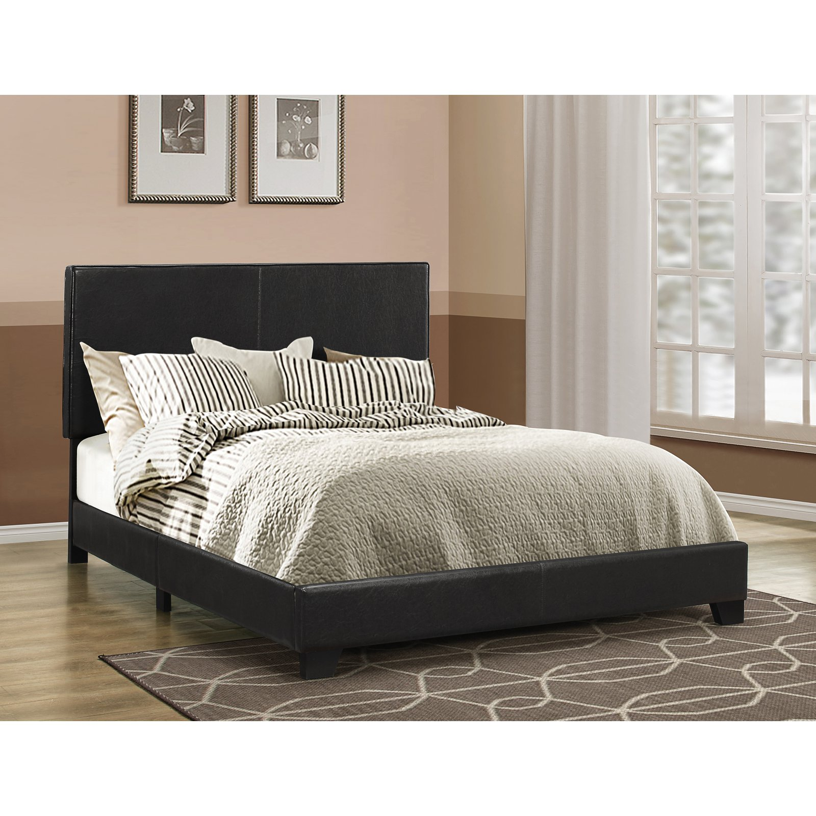 Dorian Upholstered Bed in Black (Queen)