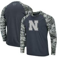 Nebraska Cornhuskers Colosseum OHT Military Appreciation Digi Camo Raglan Long Sleeve T-Shirt - Charcoal/Camo