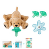 Nookums Paci-Plushies Retriever Baby Gift Set - Pacifier Holder, Teether and Replacement Pacifier 2 Pack (Plush Toy Includes Detachable Pacifier, Use with Multiple Brand Name Pacifiers)