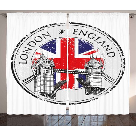 British Curtains 2 Panels Set, London England Grunge Stamp with Flag Nostalgic National Graphic, Window Drapes for Living Room Bedroom, 108W X 90L Inches, Scarlet Navy Blue Light Grey, by Ambesonne ()