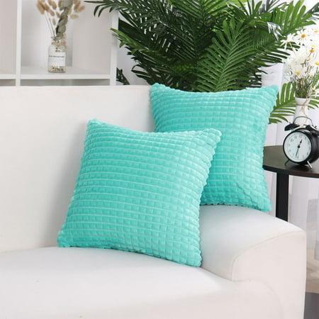 "Faux Fur Plush Throw Pillow Cover Fluffy Cushion Cover Sofa 2pcs(20""x20"", Cyan) - image 4 of 10"