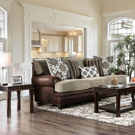 Furniture of America Olrey Transitional Leather and Chenille Upholstered  Sofa - Walmart.com