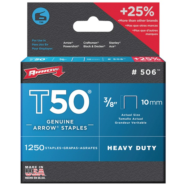 "Arrow T50 Heavy Duty Staples, 3/8"" Leg, Pack"