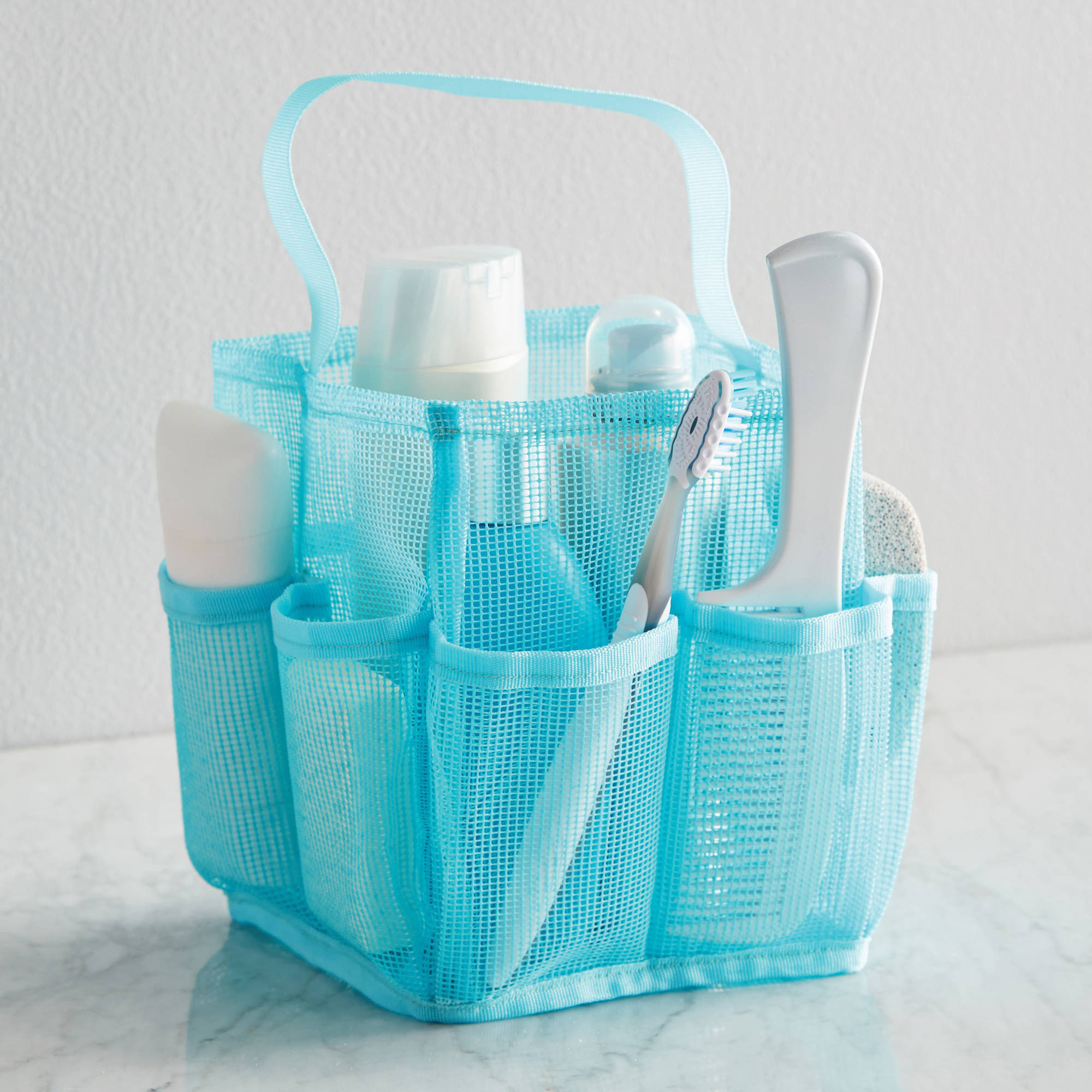 Mainstays Mesh Shower Tote, Teal
