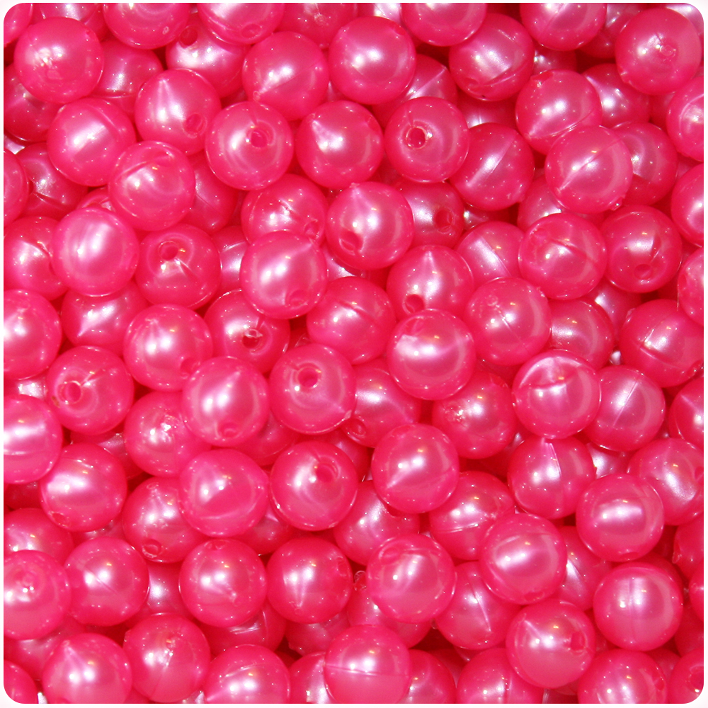 BeadTin Hot Pink Pearl 8mm Round Craft Beads (300pcs)