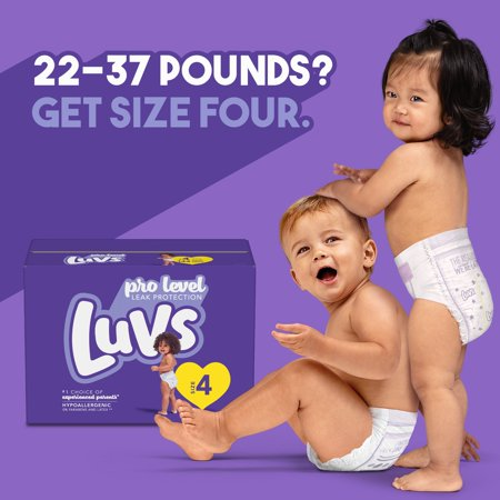 Luvs Pro Level Leak Protection Diapers, Size 4, 144 Count