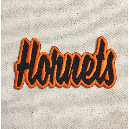 Hornets - Black/Orange - Team Mascot - Words/Names - Iron on Applique/Embroidered Patch - Hornet Mascot
