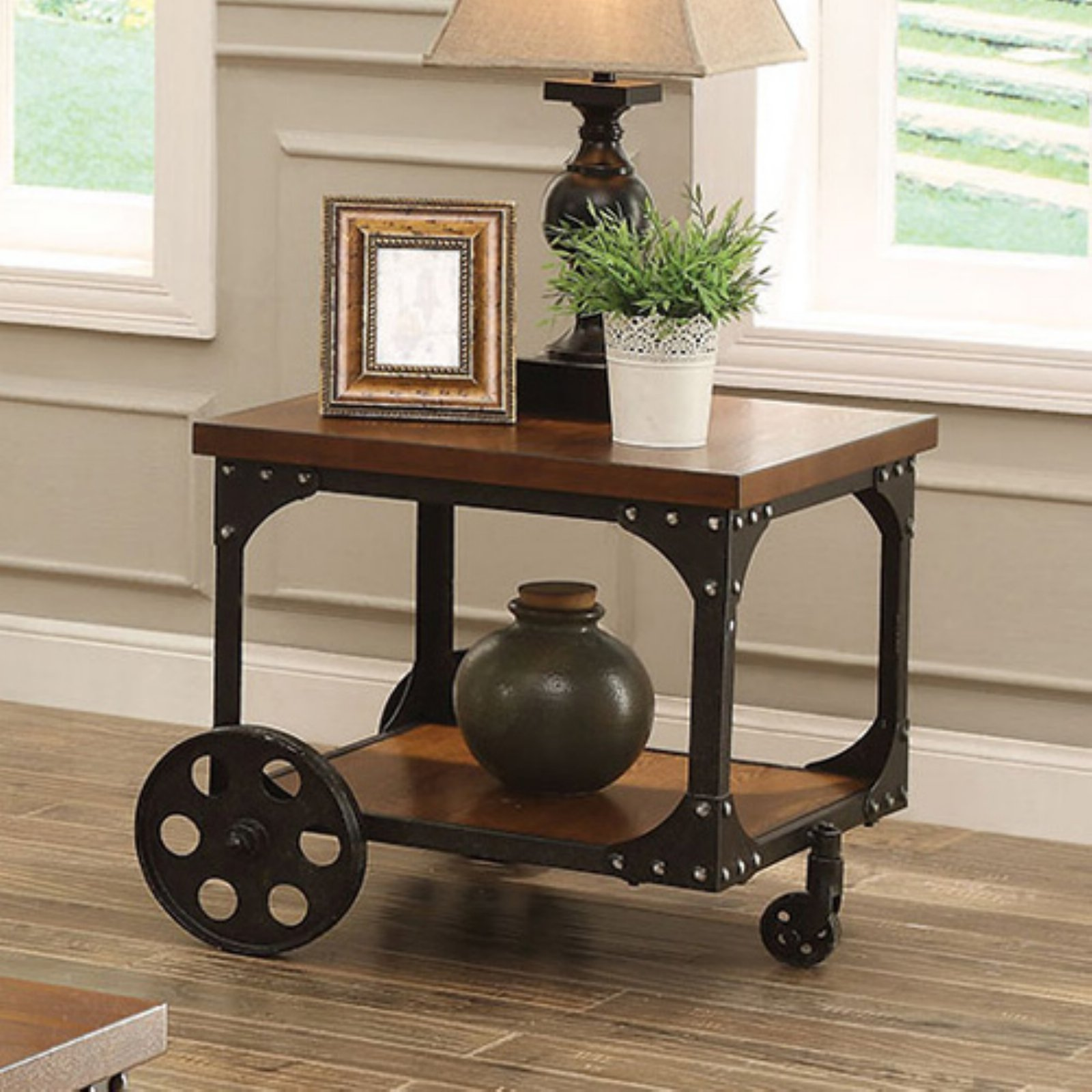 Coaster Furniture Wood End Table with Metal Casters by Coaster