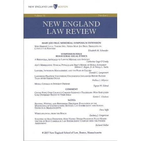 New England Law Review: Volume 51, Number 1 - Winter 2017 - eBook - Halloween Date 2017 England