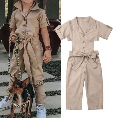 - Fashion Toddler Kids Baby Summer Solid Coveralls Backless Romper Romper Jumpsuit Clothes For Girls 2-7T