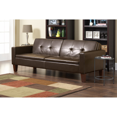 10 Spring Street Cline Sofa Bed with Wood Legs, Brown Faux Leather