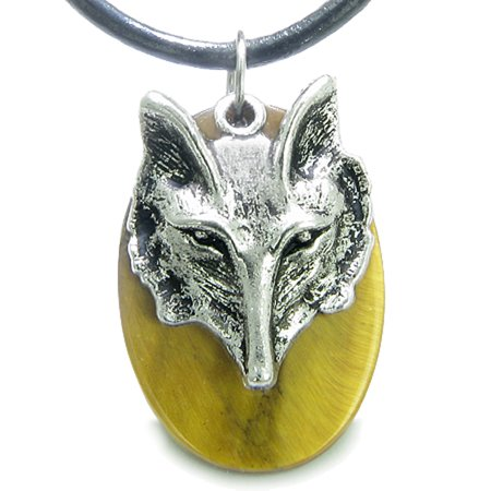 Amulet Courage Wise Wolf Head Evil Eye Protection Tiger Eye Leather Pendant Necklace