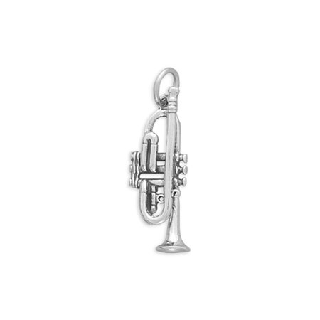 3-D Trumpet Band Music Charm Sterling Silver - Made in the USA
