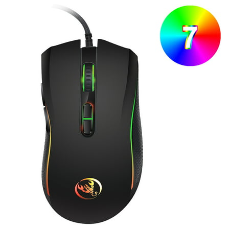 HXSJ A869 Wired Gaming Mouse 3200DPI 7 Buttons 7 Color LED Optical Computer Mouse Player Mice Gaming Mouse for Pro Gamer