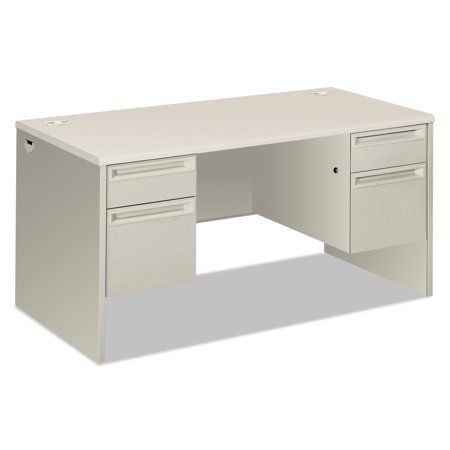 "HON 38000 Series Double Pedestal Desk, 60"" Wide, Silver Mesh/Light Gray"
