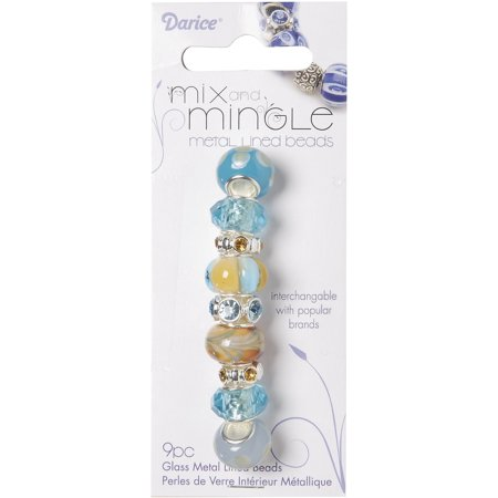 (Darice Mix and Mingle Glass Metal Lined Beads, Tan/Aqua, 9-Pack)