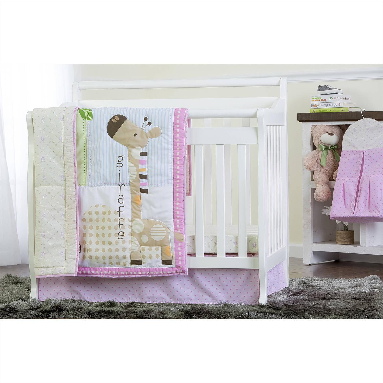 Dream On Me Jungle Friends 4-Piece Reversible Portable Crib Bedding Set