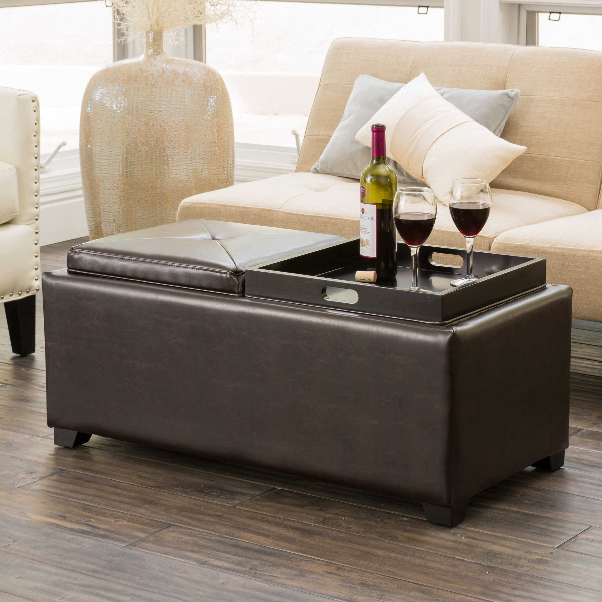 Maxwell Brown Bonded Leather Double Tray Ottoman
