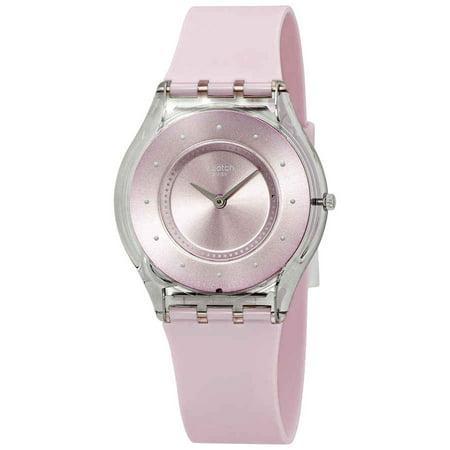 - Swatch Skin Pink Pastel Pink Dial Silicone Strap Unisex Watch SFE111